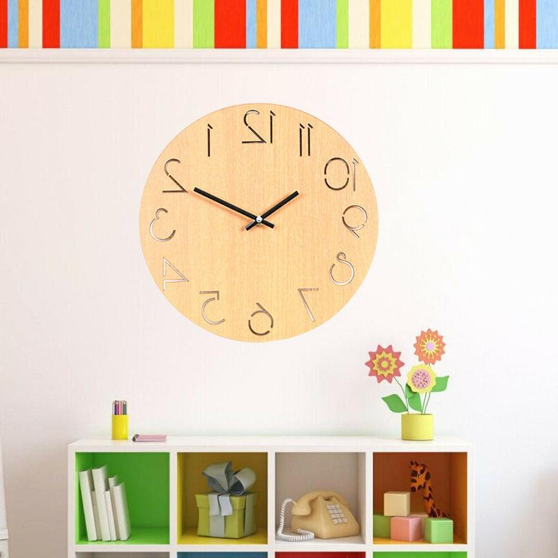 1pc Wooden Wall Clock Hanging Simple Round Decorative Wall C
