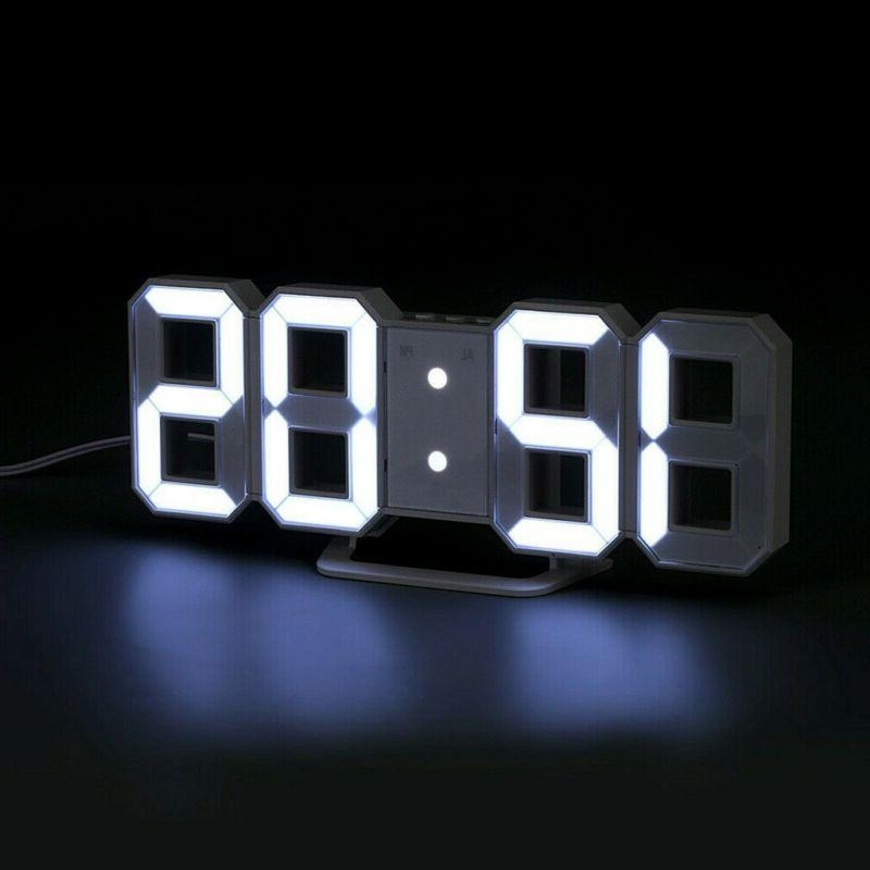 3D LED Big Wall Desk Clock Snooze 12/24 Brightness