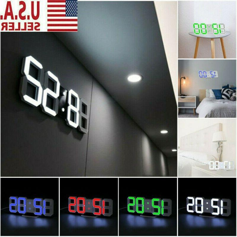 3D Digital LED Wall Clock Snooze 12/24 Brightness