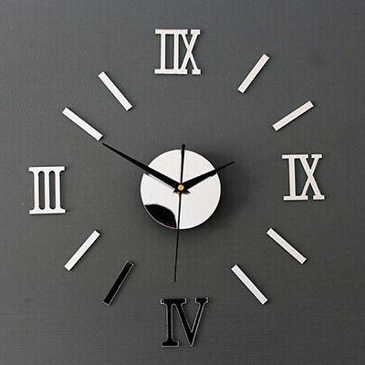 Decal 3D Stickers Large Wall Clock Big Watch Roman Numerals