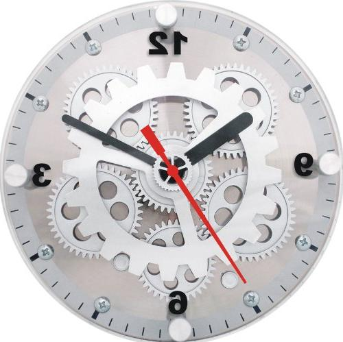 Maple's 6-Inch Dual Use Table/Wall Moving Gear Clock Glass C