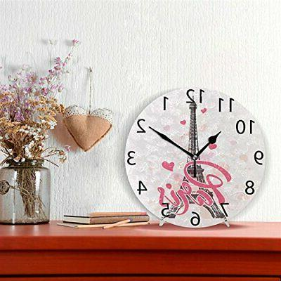 ALAZA Pink Paris Love Round Acrylic Wall Clock Silent Oil Pa...
