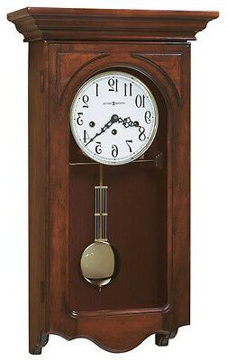 cherry finish wind up chiming wall clock