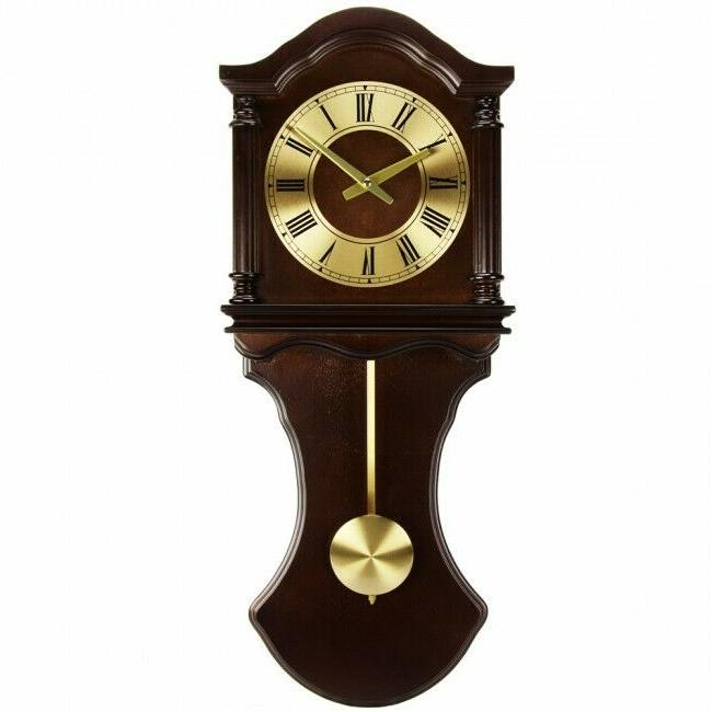 Bedford Clock Collection Chocolate Wood Wall Clock with Pend