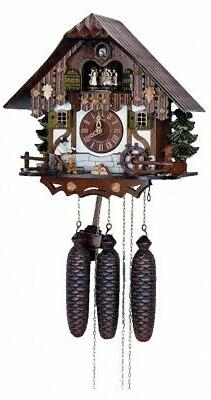Cuckoo Clock Black Forest house with moving wood chopper a..