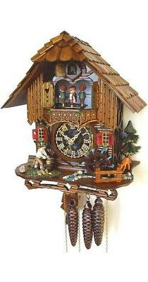 Cuckoo Clock Black Forest house with moving wood chopper and