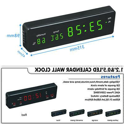 Electronic led wall clock with temperature and humidity disp