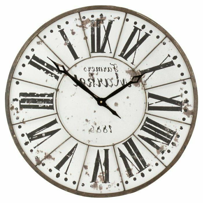 Farmhouse Rustic White Large Round 24 Inch Wood Wall Clock w
