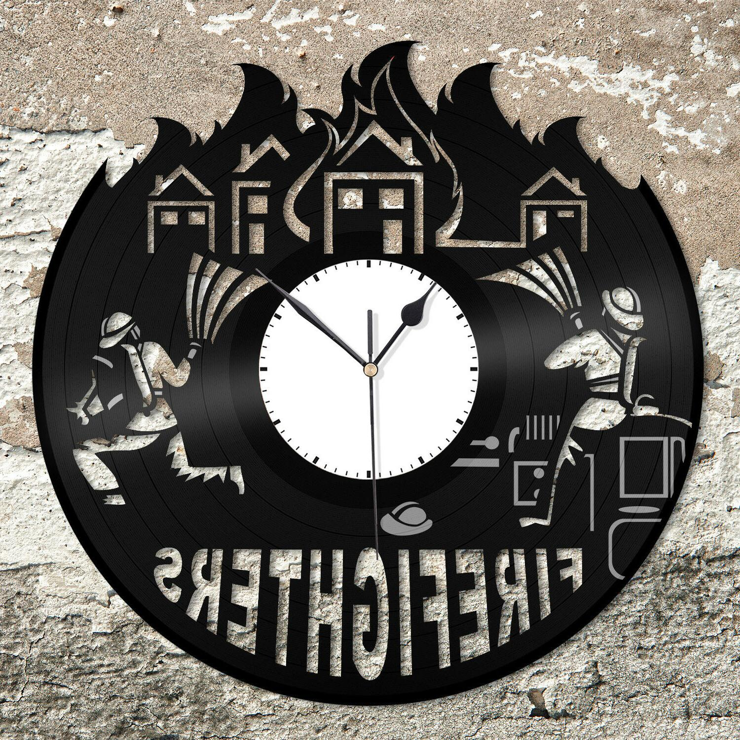 Firefighters Wall Clock Fire Fighting Theme Unique Gift for