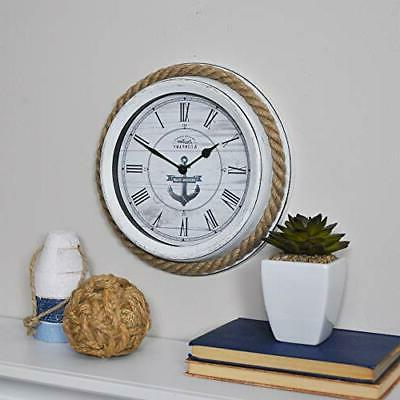FirsTime & Co. Dock Rope Wall Clock, 10, Distressed Whit
