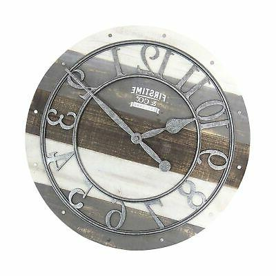 """FirsTime & Shabby Wood Wall Clock, 16"""", Gray"""