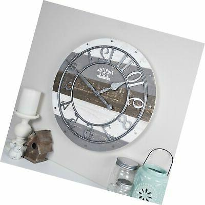 firstime and co shabby wood wall clock