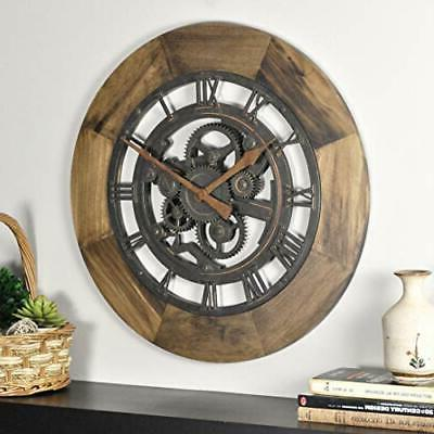 """FirsTime & Co. Wood Gear Wall Clock, 19"""", Aged Brown"""