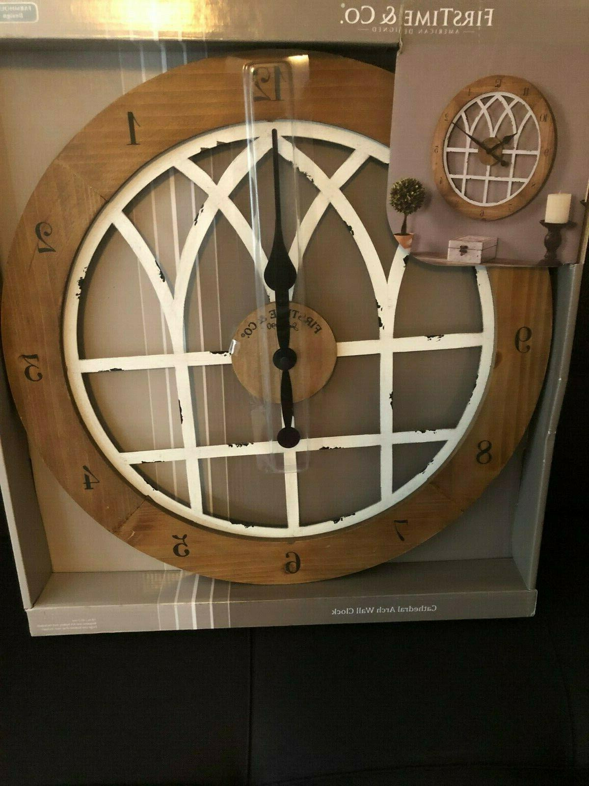Firstime Wall Clock, Weathered Brown White, 18 X 18,