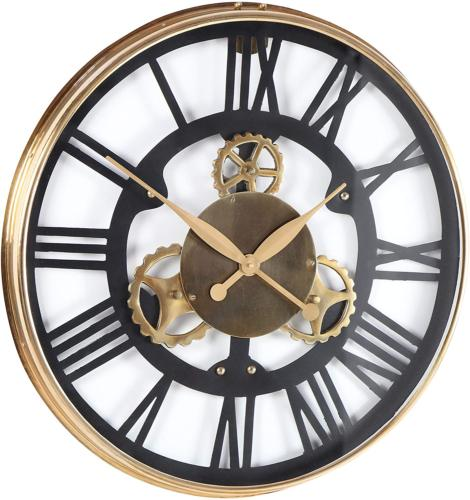 """Gear-Designed Stainless Steel Sized Clock, 25"""", Gold/Black/White"""