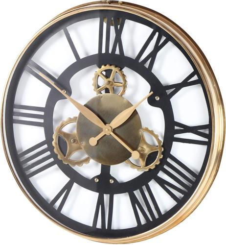"""Gear-Designed Stainless Sized Clock, 25"""", Gold/Black/White"""