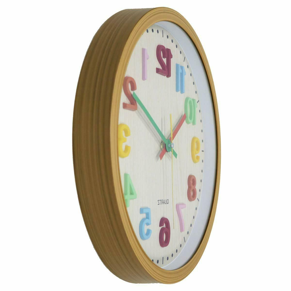 Kids Clock 3D Numbers Battery Operated Silent