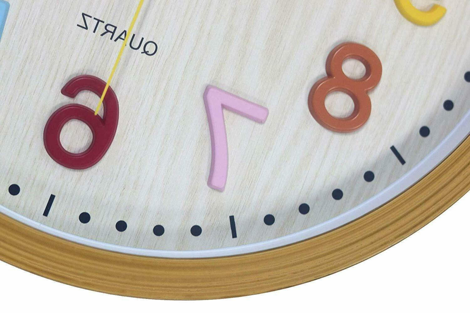 Kids Clock 3D Numbers Operated Silent Non Ticking Classroom