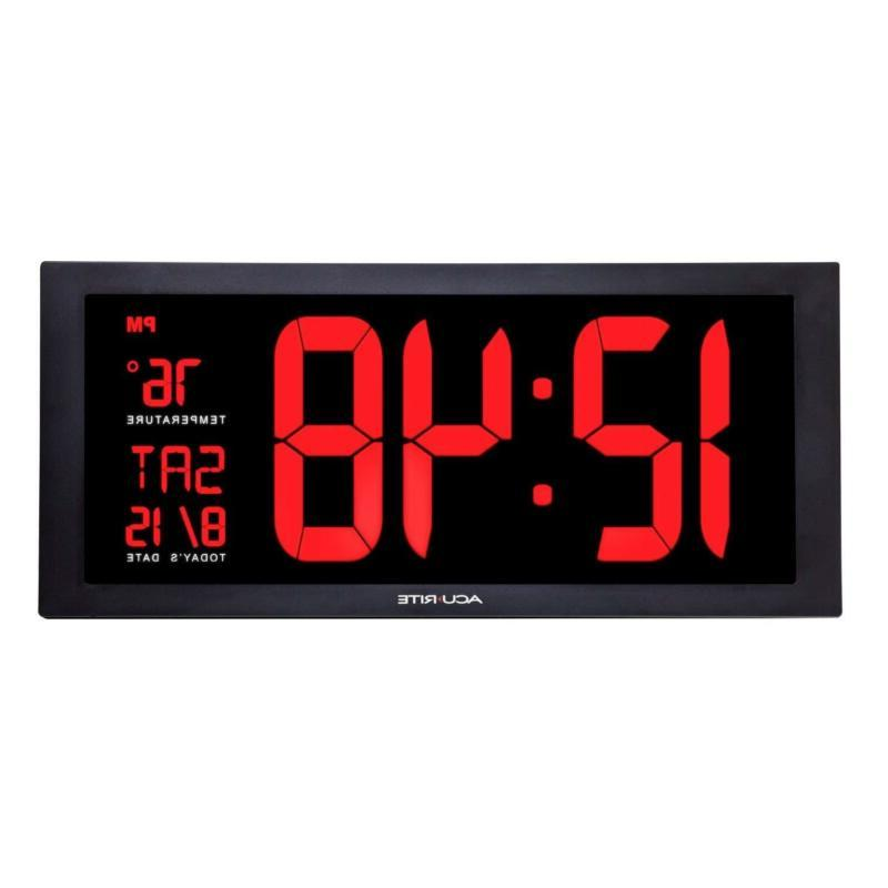 Large Clock Date And Day Led Decor