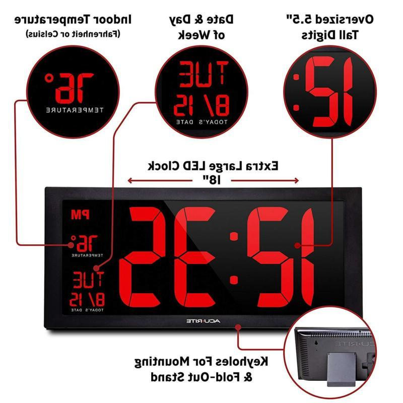 Large Display Wall Digital Clock Date And Day Led
