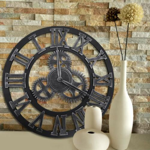 Antique Large Wall Clock Steampunk 3D Gear Retro Roman Numer