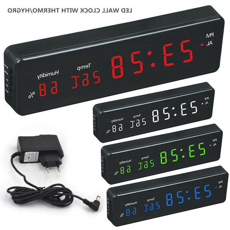 Electronic LED Digital Home Wall Clock Temperature Humidity