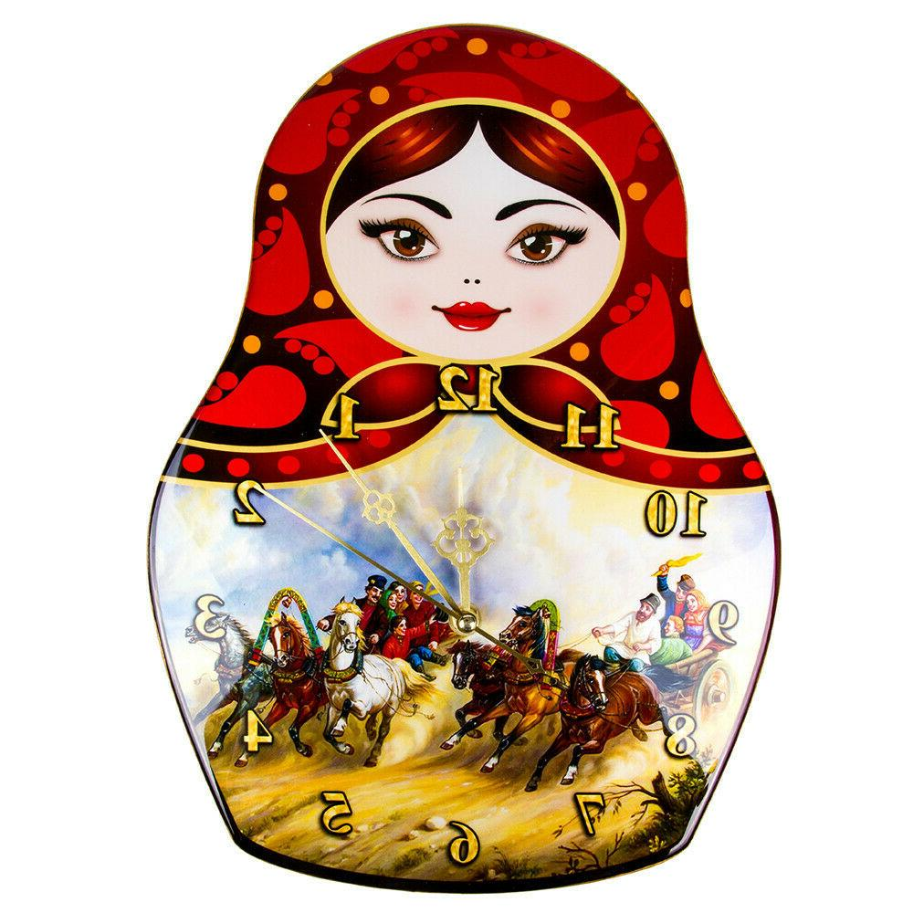 nesting doll shaped wall clock for living