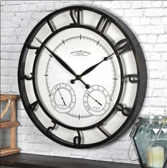 outdoor wall clock thermometer hygrometer oil bronze