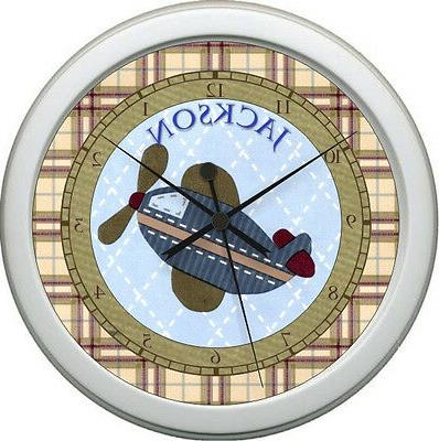 personalized pro flyer airplane nursery wall clock