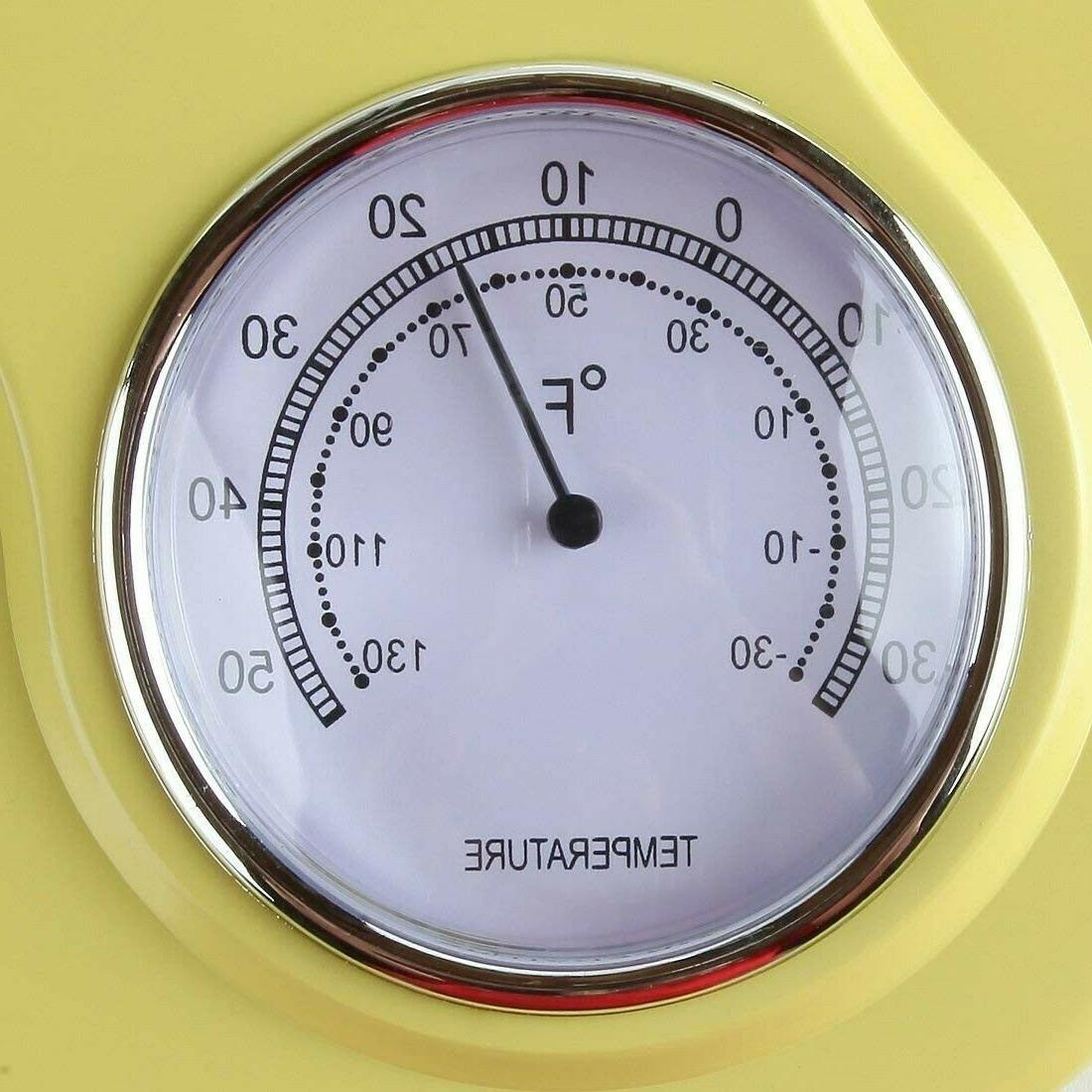 Retro Wall Clock Yellow Vintage Thermometer 9.5 in