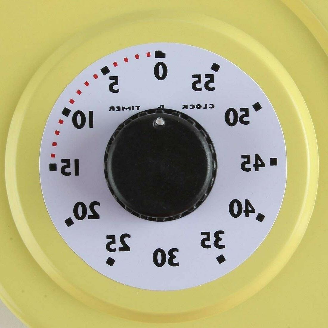 Retro Wall Clock Yellow Thermometer 9.5