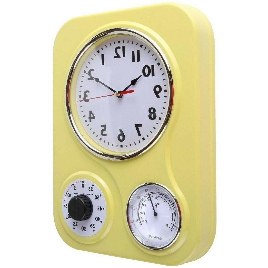 Retro Kitchen Yellow 60-Minute Timer Thermometer Large 9.5