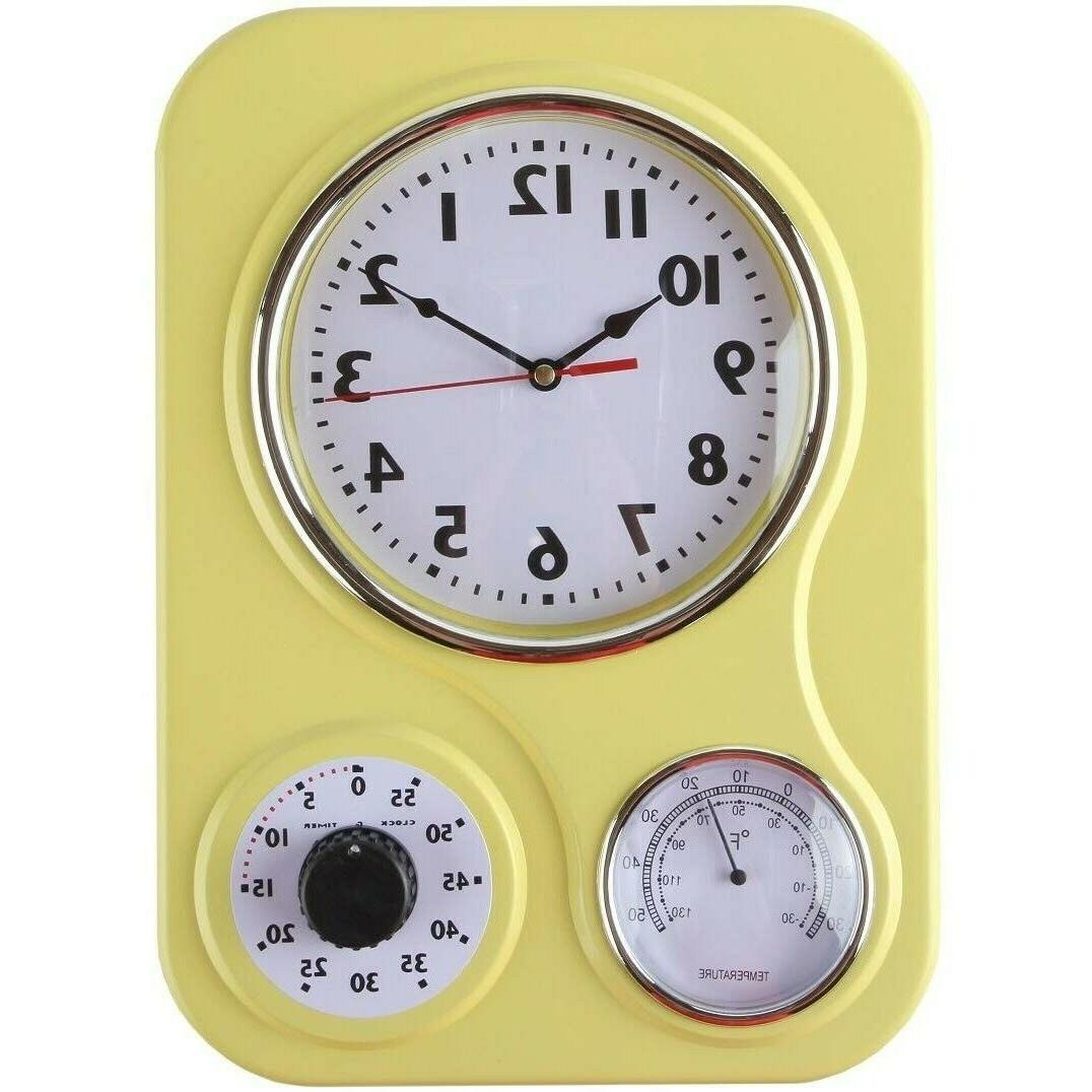 Retro Kitchen Wall Clock Yellow Vintage 60-Minute Timer Ther