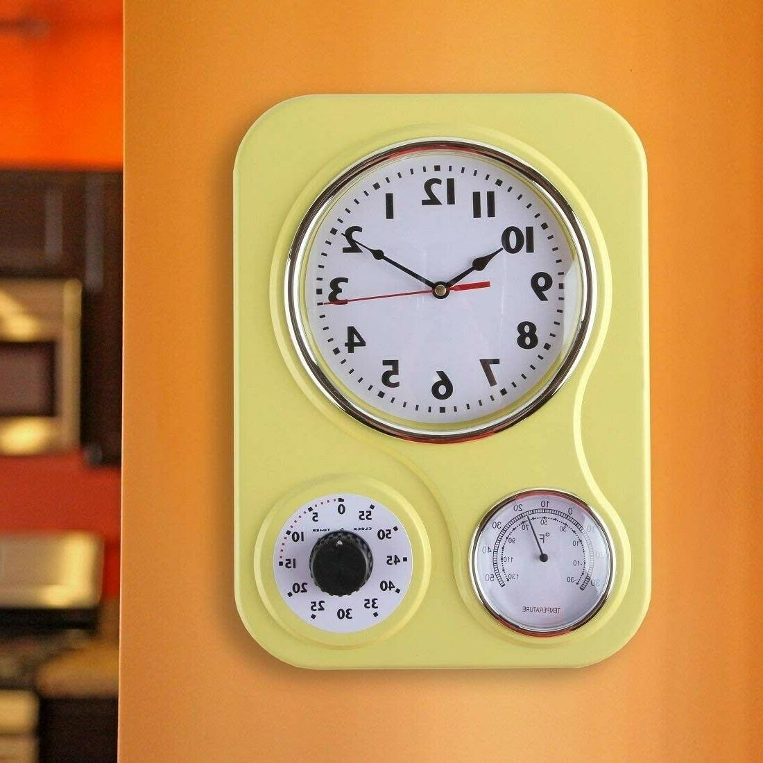 Retro Kitchen Wall Yellow Vintage Timer Thermometer Large