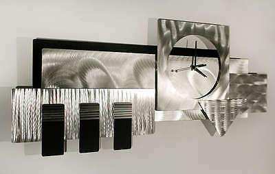 Large 3D Clock Abstract Metal