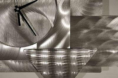 Large Silver/Black Clock - Abstract Metal Wall by Jon