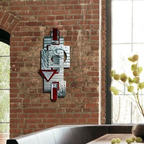 Silver and Red Wall Clock Art - Hanging Metal Clock - Clock By 37-inch