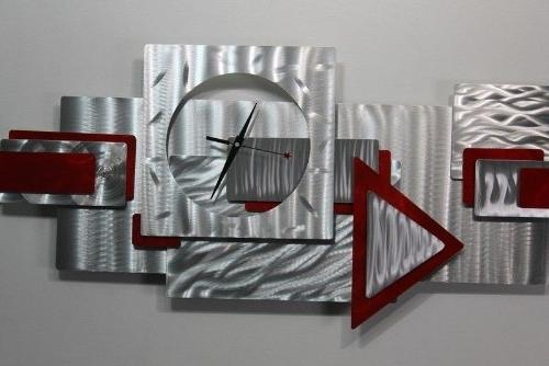 Silver and Red Wall Clock Art Hanging Metal - Times By Jon - 37-inch