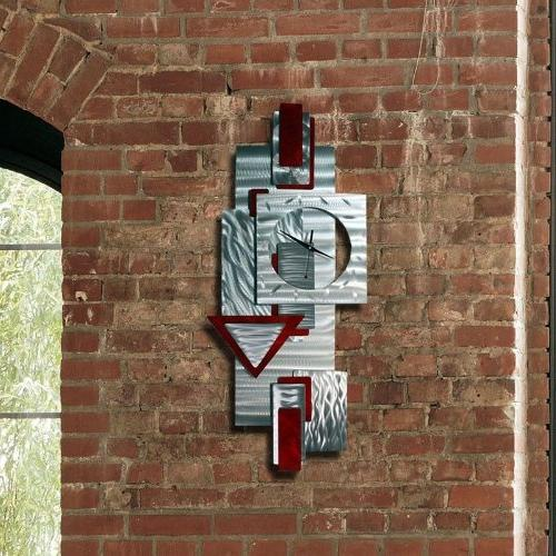 Silver and Scarlet Red Wall Art Metal - Scarlet Clock By Jon - 37-inch