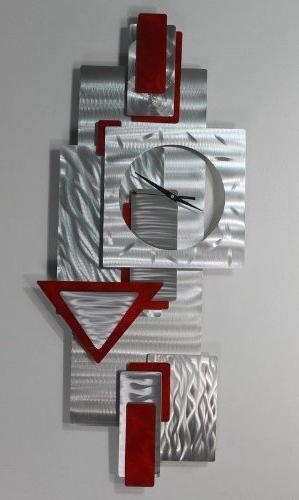 silver scarlet red wall clock