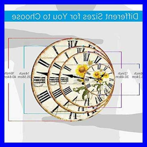 """Simple Brownish 14"""" Wall Clocks LARGE French Inch"""