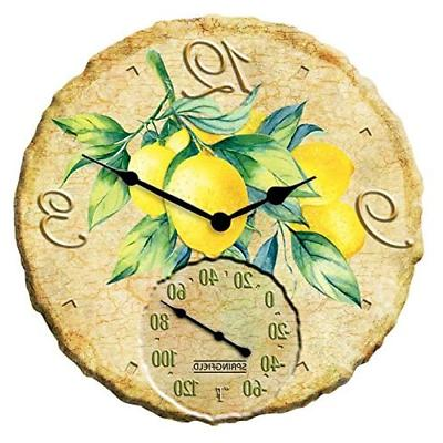 springfield lemons outdoor clock and thermometer polyresin