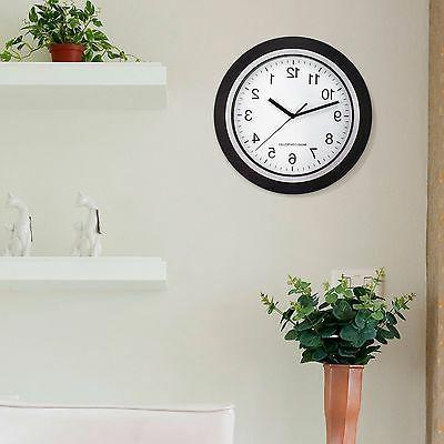"""Wall Mount Clock Battery Operated Large 12"""" Black White Anal"""