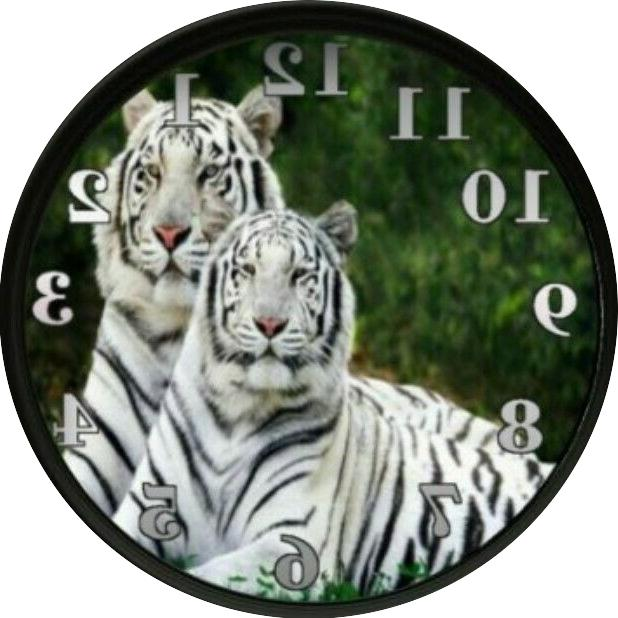 white tiger clock animals wall decor bedroom