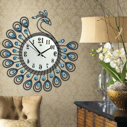 Large 3D Gold Diamond Peacock Wall Clock Metal Watch for Hom