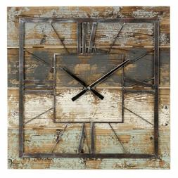 Large Decorative Square Rustic Industrial Wood Metal Wall Cl