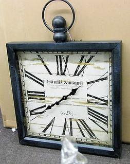 """LARGE GALLERY SQUARE WOODEN WALL CLOCK 32"""" X 24""""  POCKET WAT"""