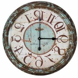 Large Metal Wall Clock Distressed Turquoise Antiqued Shabby