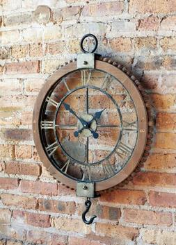 Large Open Vintage Wall Clock Roman Numerals and Hook Office