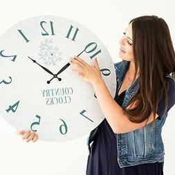 Large Wall Clocks 24 Inches - Modern Rustic Silent Decorativ